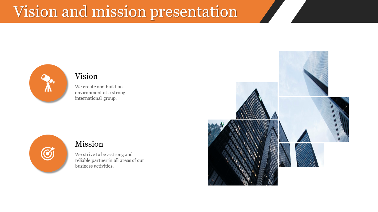 vision and mission presentation with portfolio design