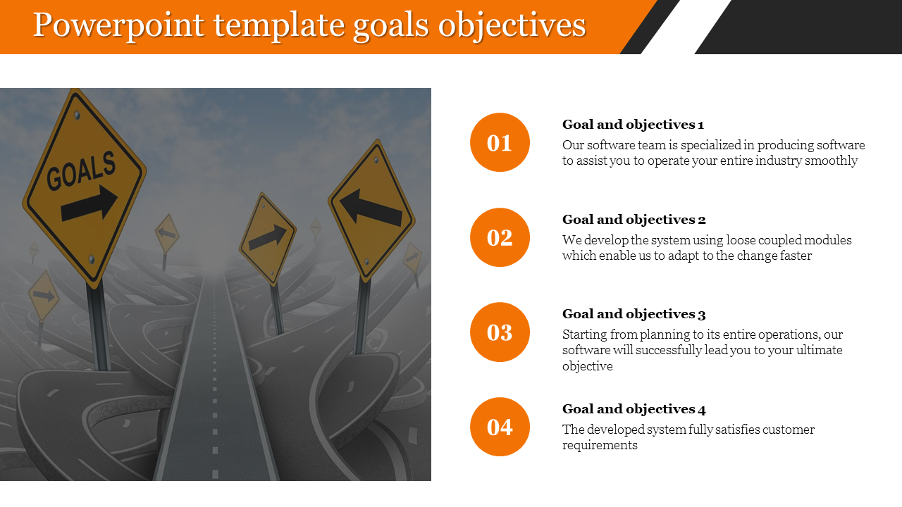 Visionary Company powerpoint template goals objectives