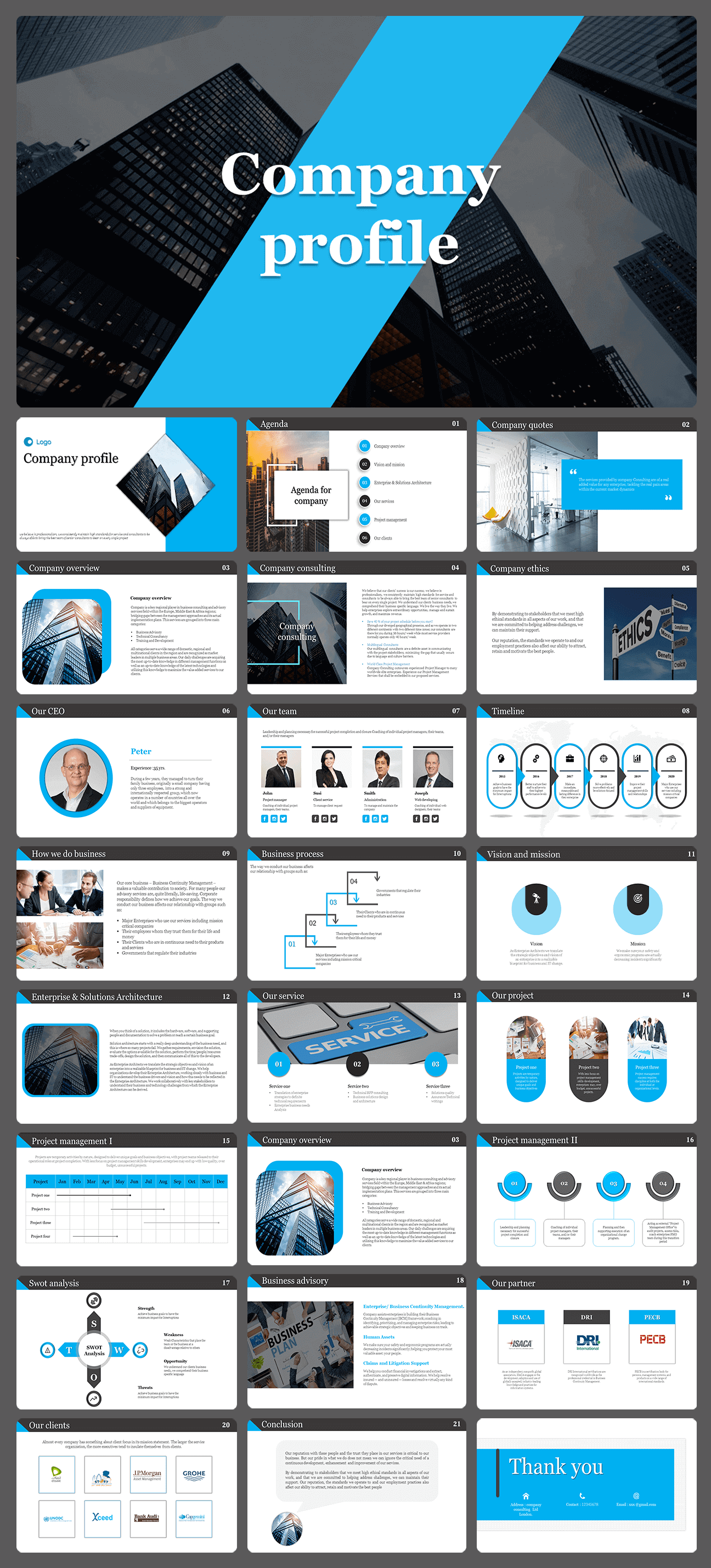 Company profile presentation template - slide Deck