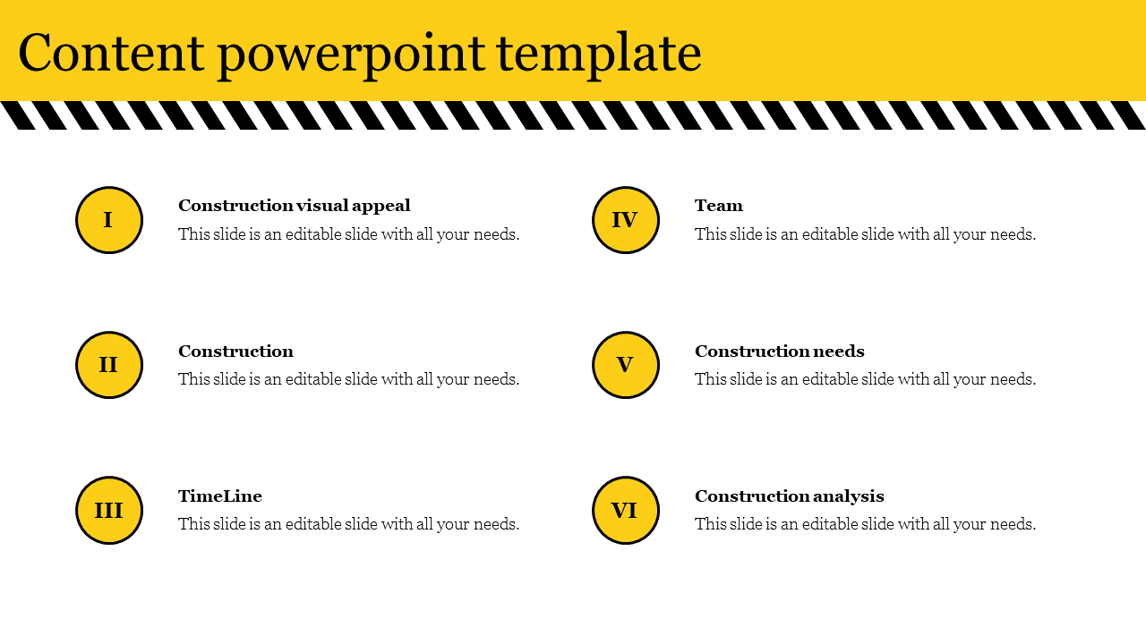 Content Powerpoint Template For Construction