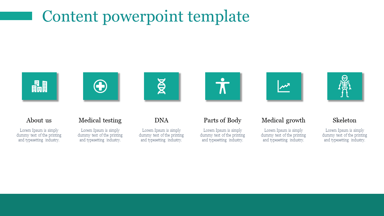 Content Powerpoint Template For Medical