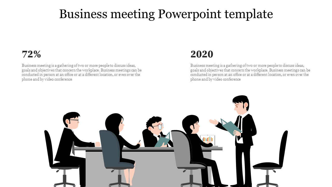 A Two Noded Business Meeting Powerpoint Template Slideegg