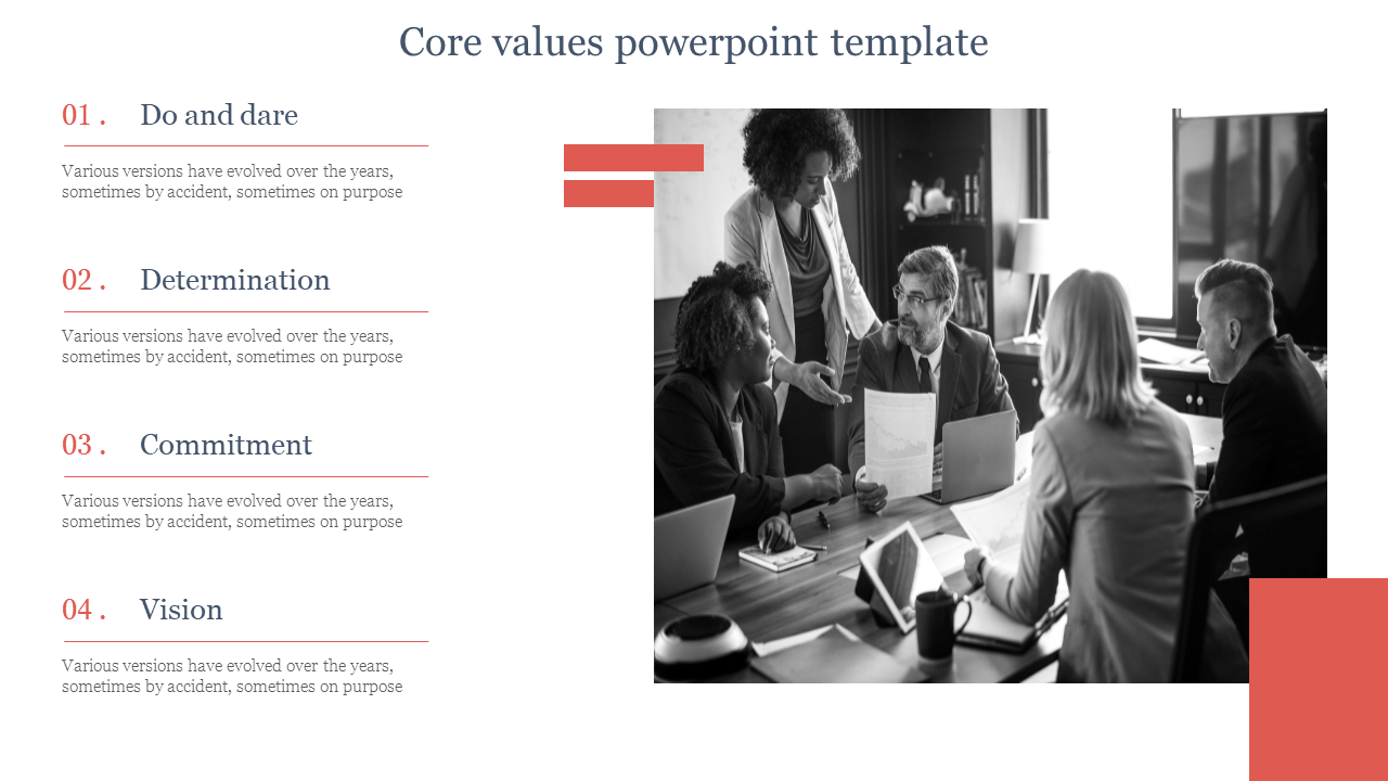 A Four Noded Core Values Powerpoint Template