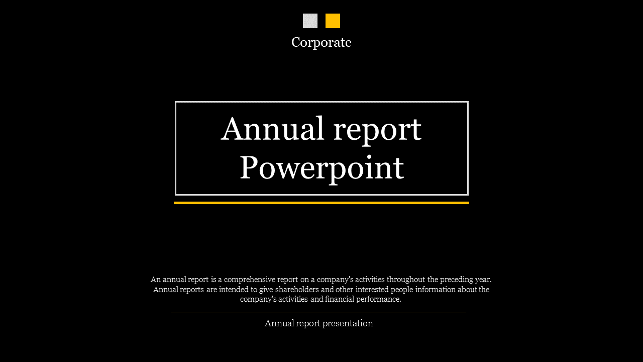 A One Noded Annual Report Powerpoint