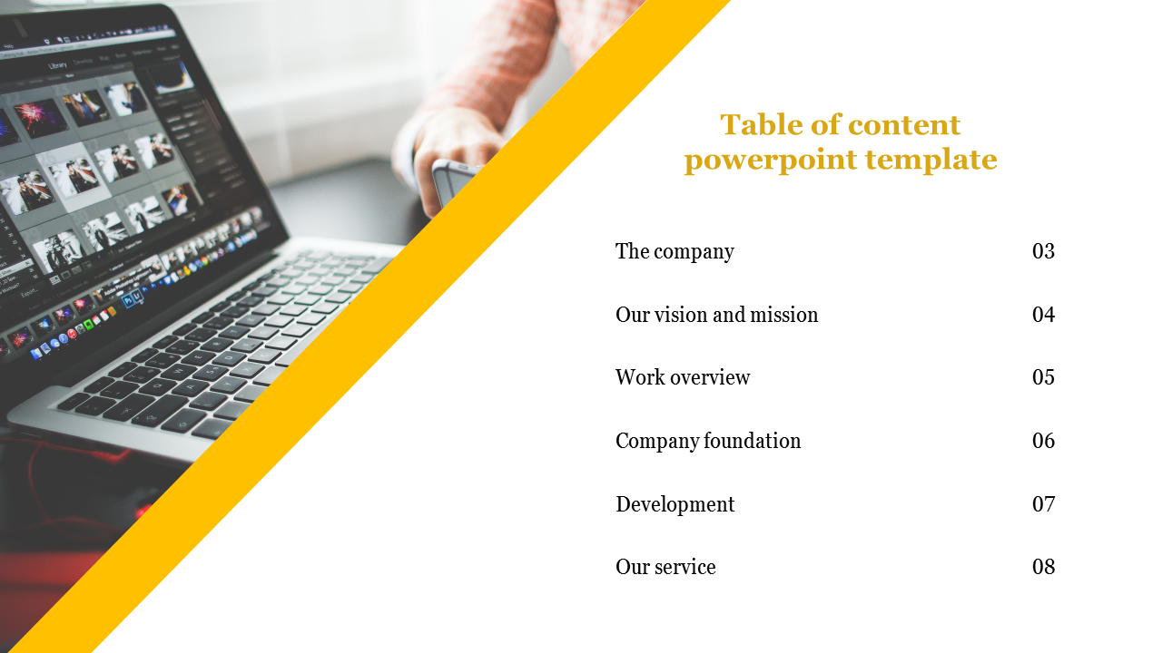 A Six Noded Table Of Content Powerpoint Template