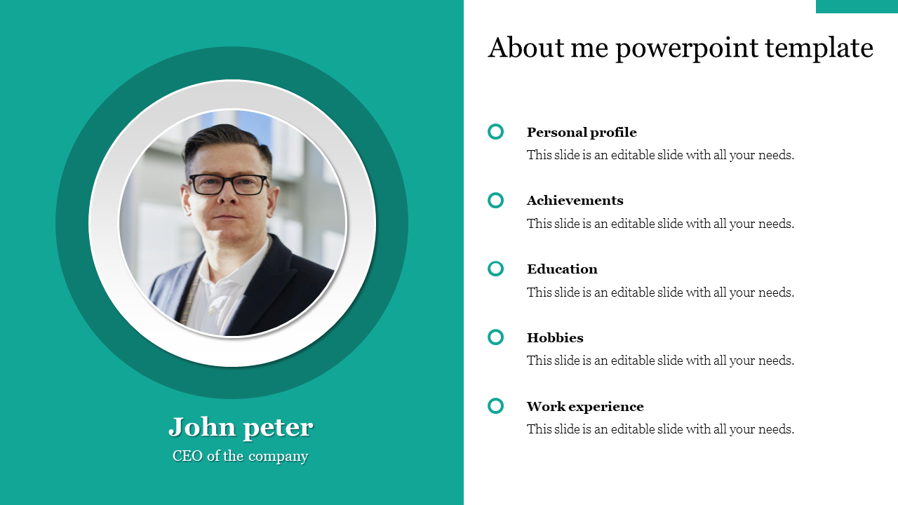 About me powerpoint template Model