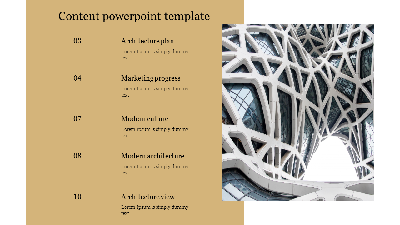 Content Powerpoint Template For Modern Architecture