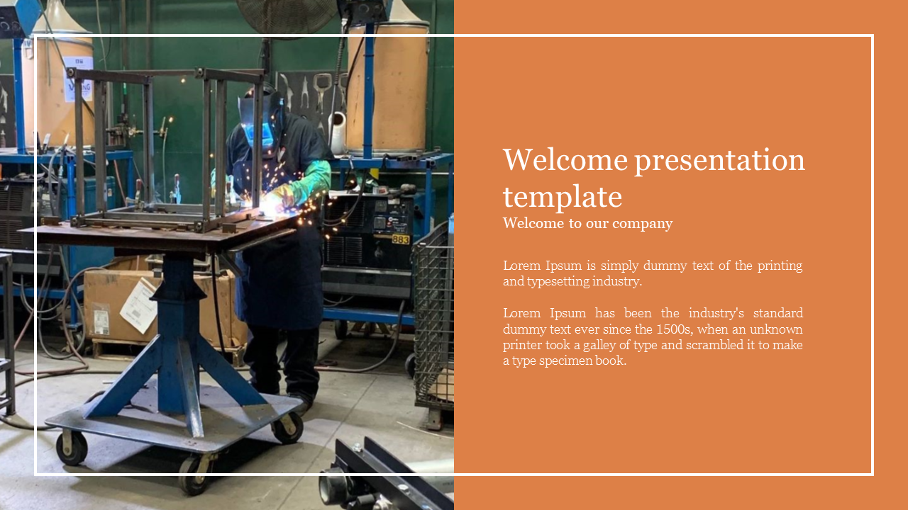 welcome presentation template for manufacturing company
