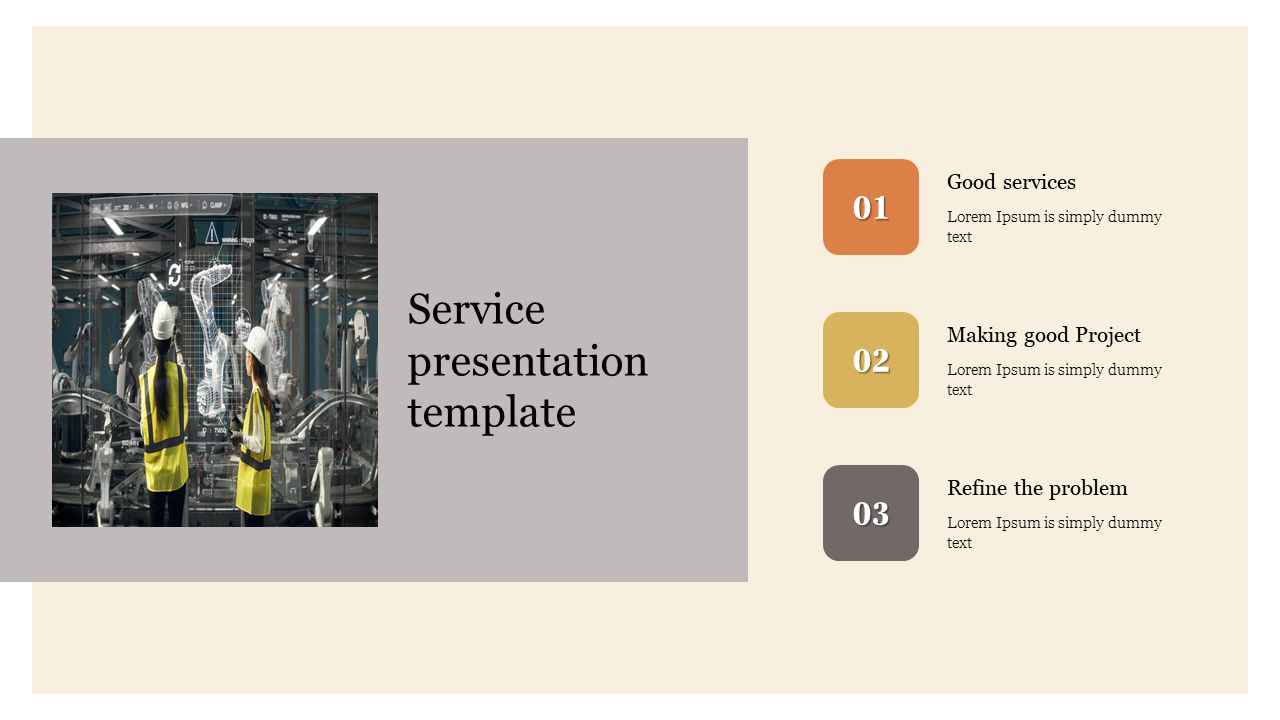 Service presentation template for company
