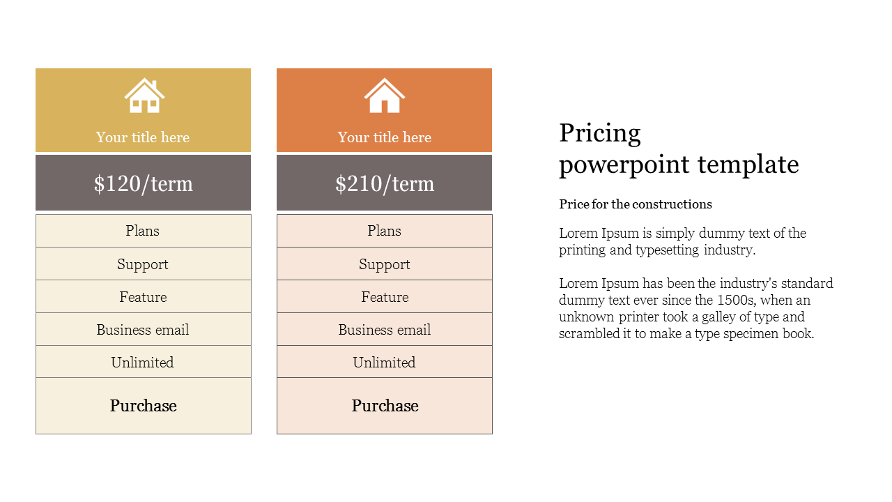 Pricing powerpoint template for construction