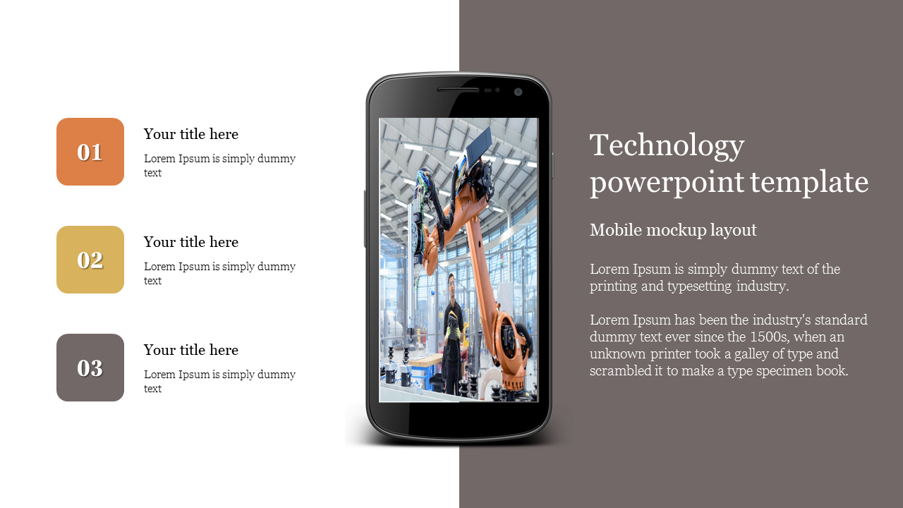 Mobile mock up technology powerpoint template