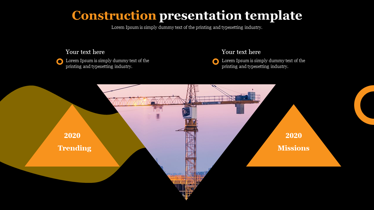 Construction presentation template with triangle shapes