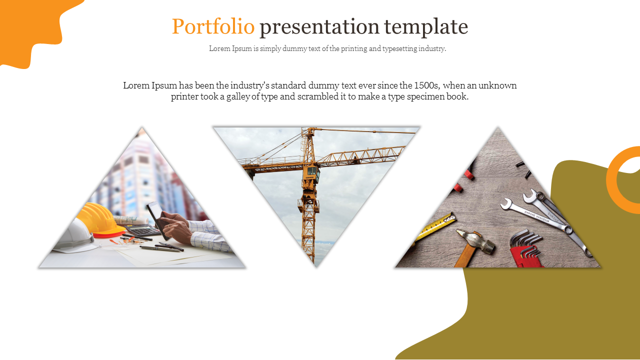 Portfolio presentation template with construction tools