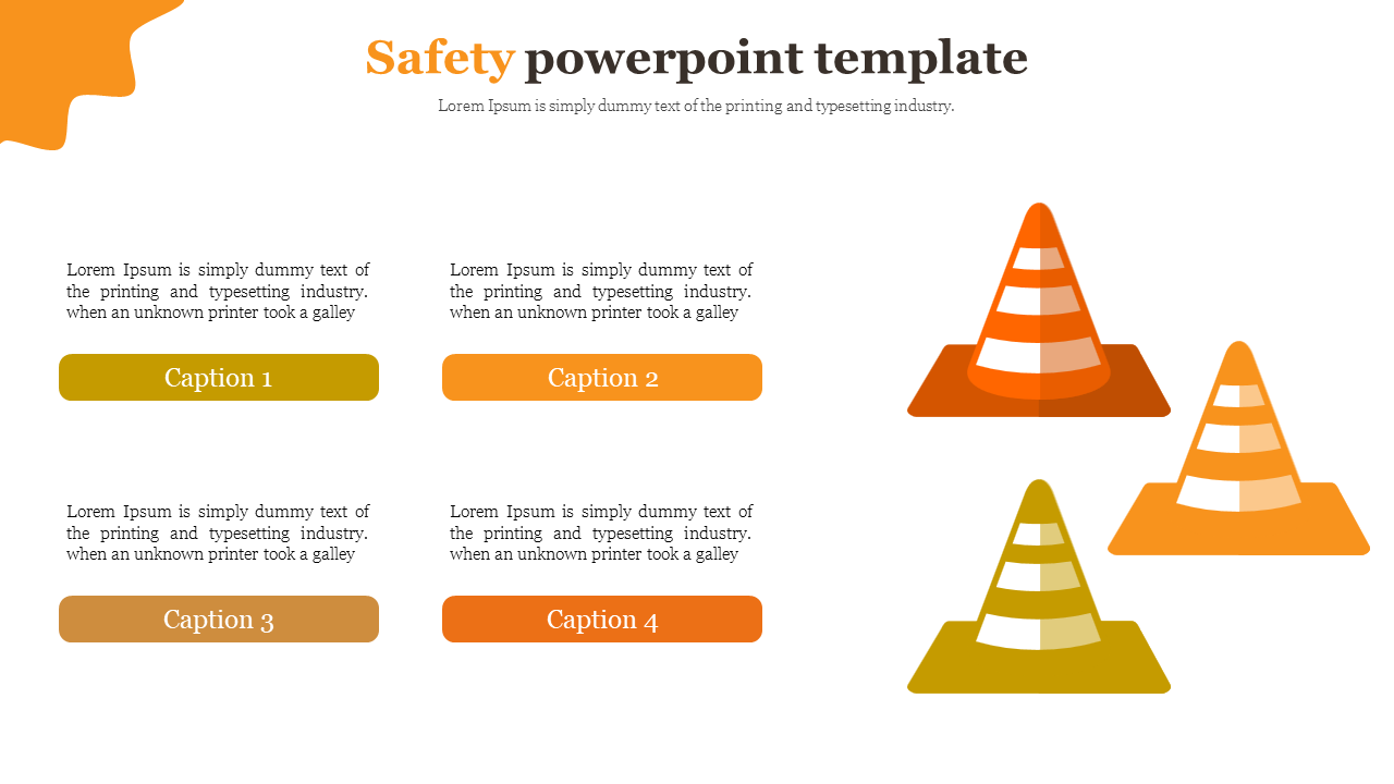 Safety powerpoint template with traffic cone