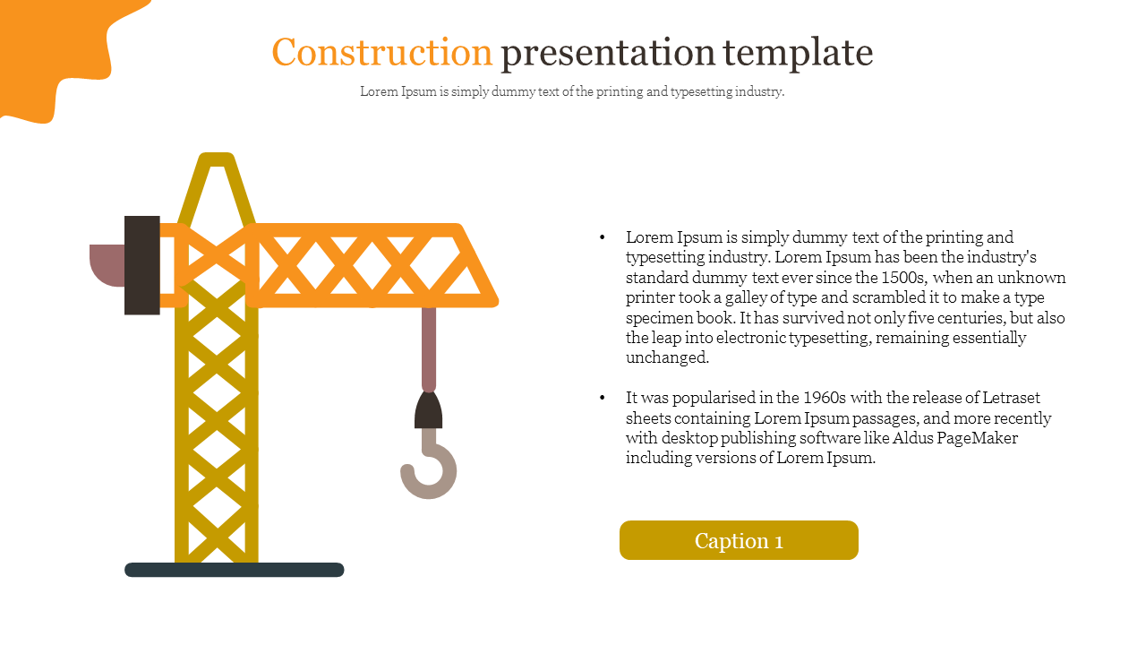 Construction presentation template with crane diagram