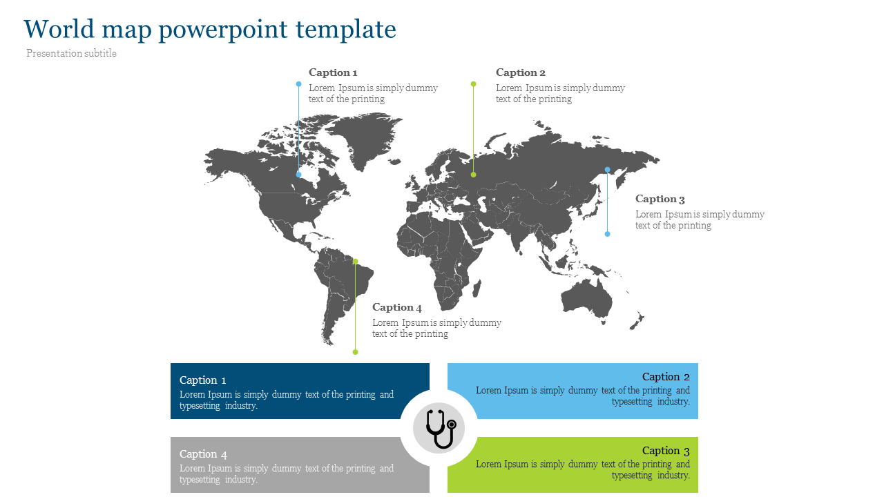 World map powerpoint template for medical presentation
