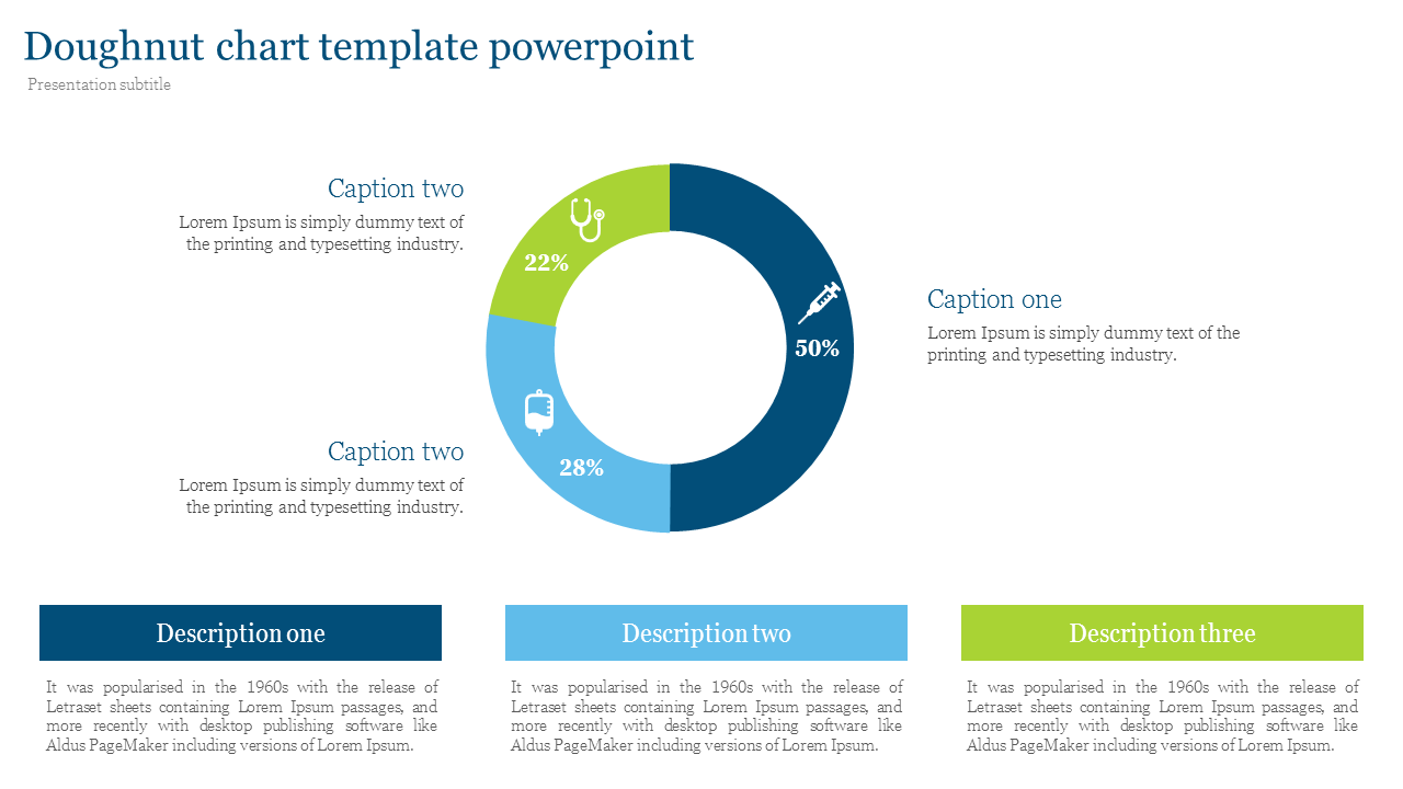Doughnut chart template powerpoint for medical presentation