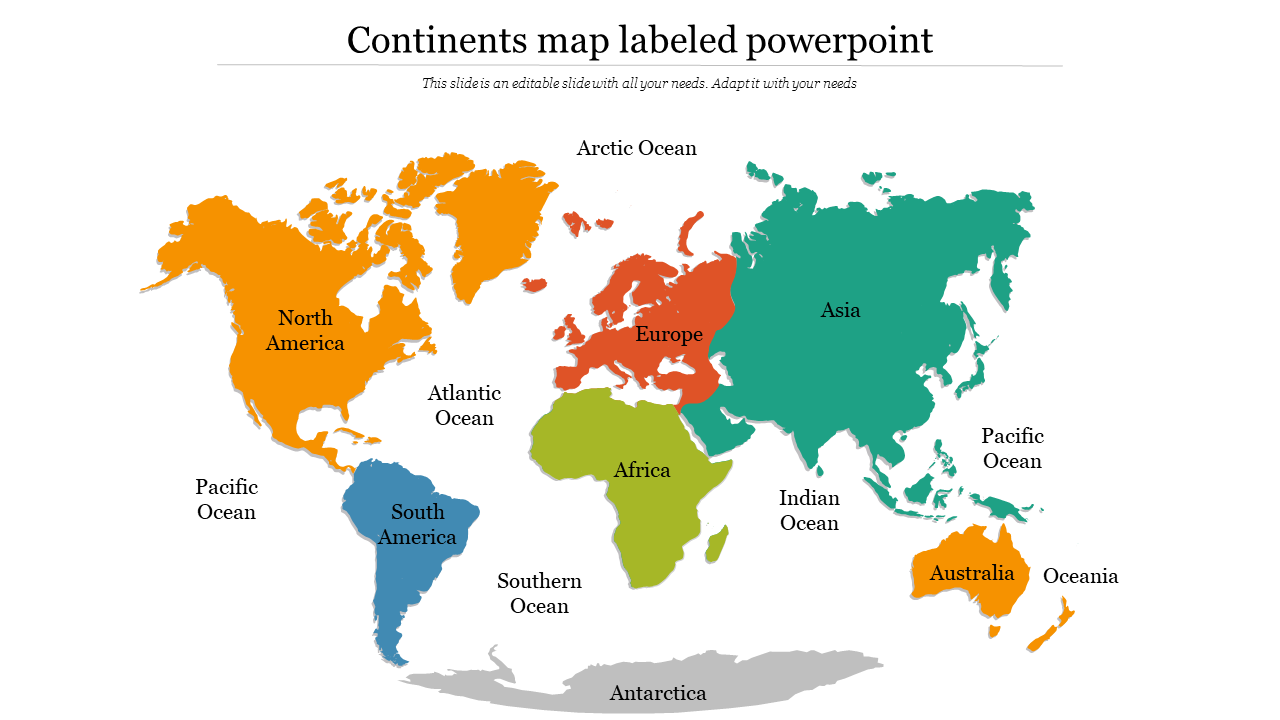 Picture of: Colorful Continents Map Labeled Powerpoint Slideegg