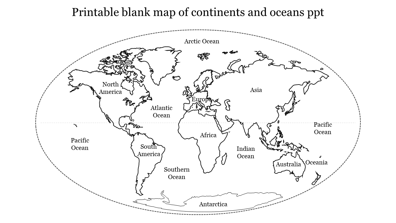 Picture of: Black Simple Printable Blank Map Of Continents And Oceans Ppt New Slideegg