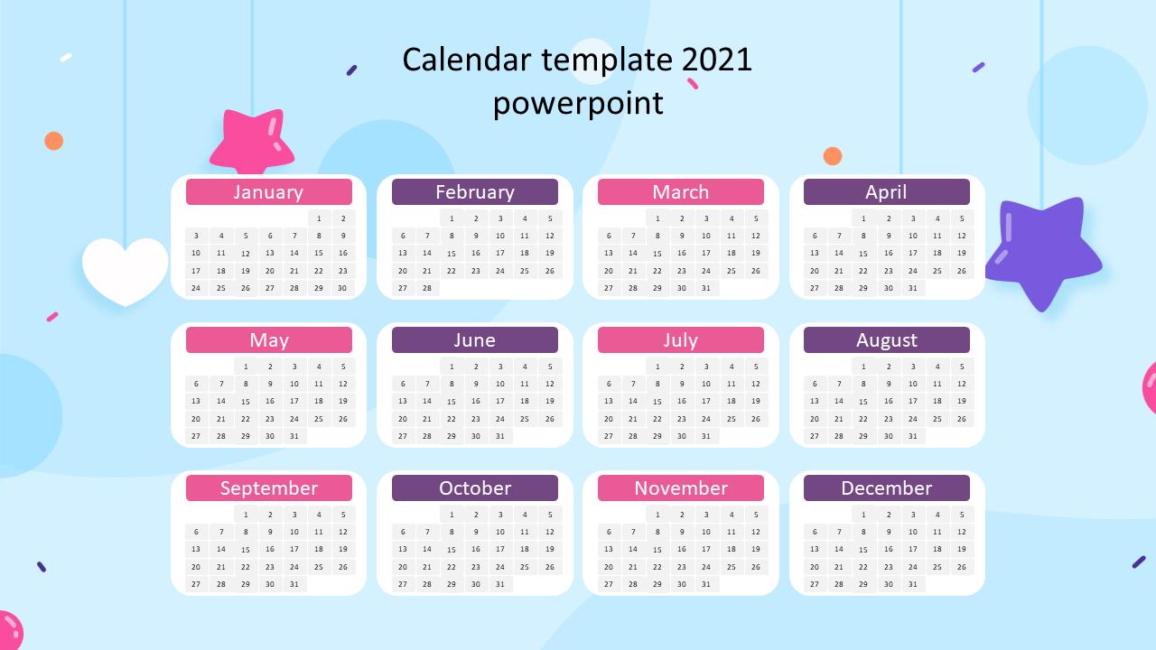Calendar template 2021 powerpoint for presentation