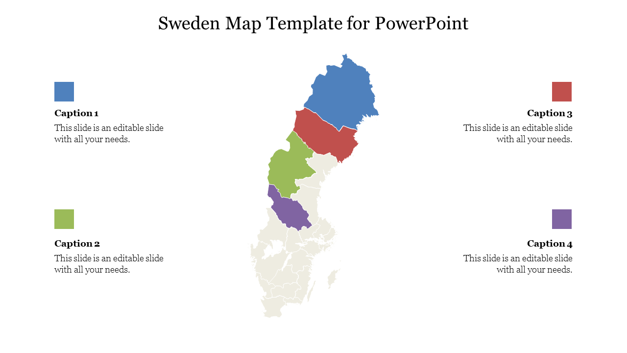 Editable Sweden Map Template For PowerPoint