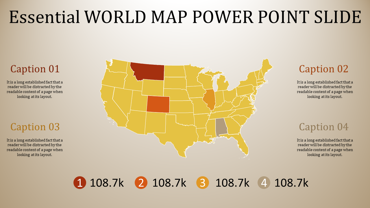 world map power point slide - yellow