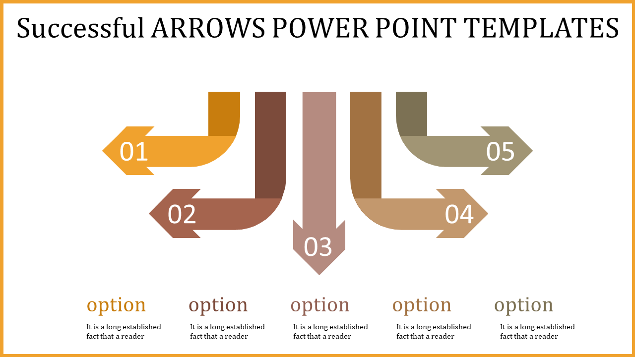 Arrows Power Point Templates -  Five Downward Arrows