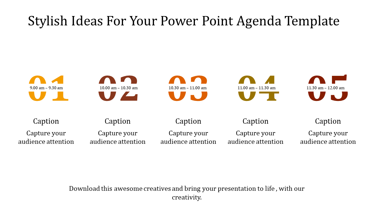 A Five Noded Power Point Agenda Template