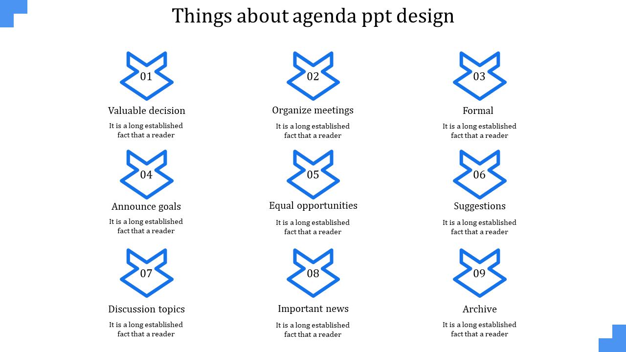 A Nine Noded Agenda PPT Design