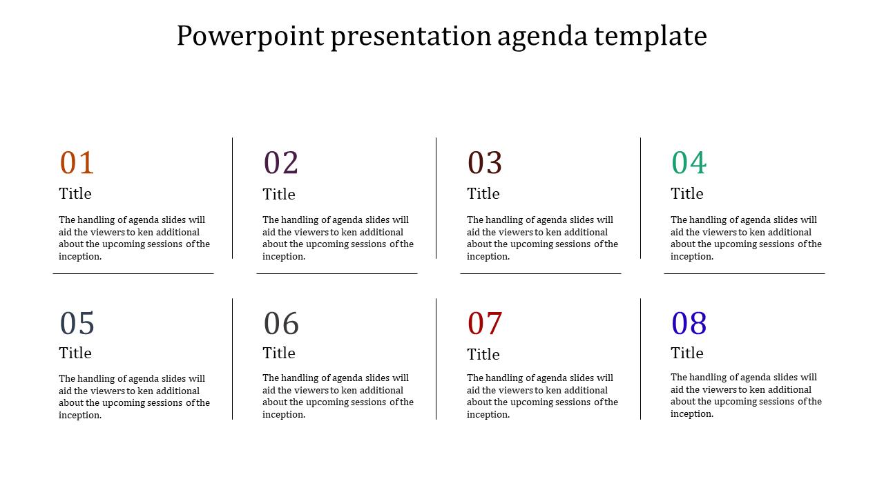 A Eight Noded Powerpoint Presentation Agenda Template