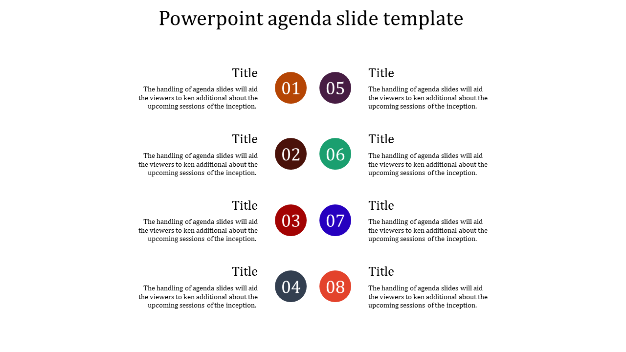 A Eight Noded Powerpoint Agenda Slide Template
