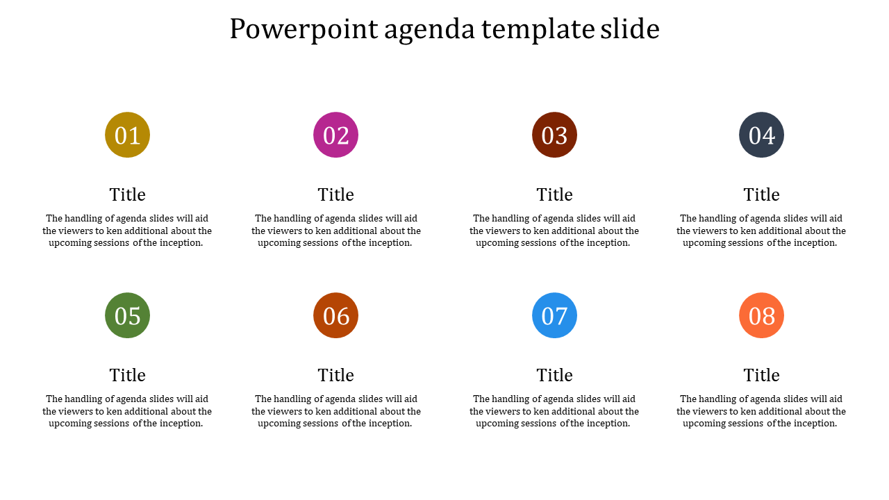A Eight Noded Powerpoint Agenda Template Slide