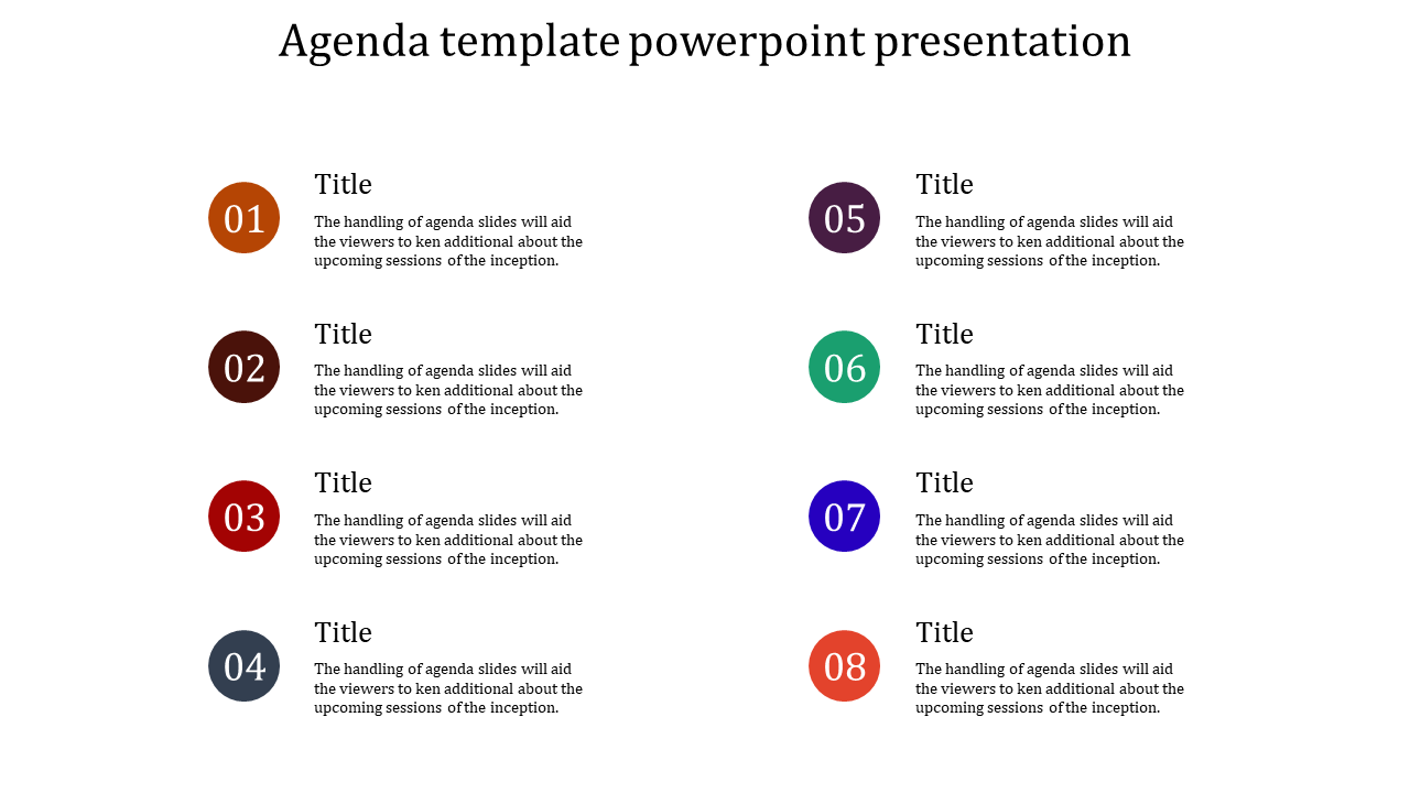 A eight noded agenda template powerpoint presentation ...