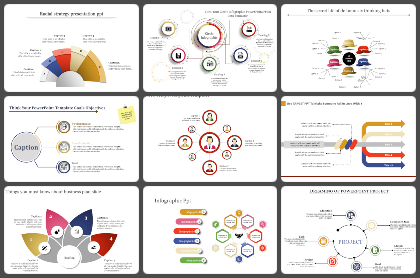 Linear - One to Many to One Powerpoint Templates